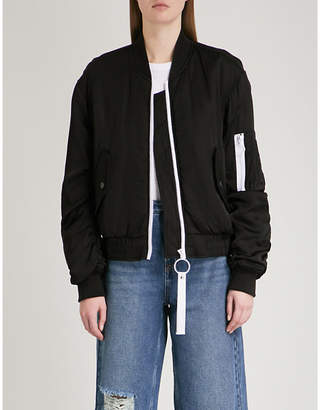 Mo&Co. Contrast-detail padded satin bomber jacket