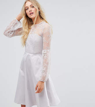 Y.A.S Tall balloon sleeve mini dress in silver