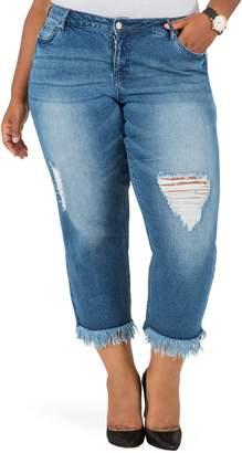 Justice Poetic Verla Frayed Hem Crop Boyfriend Jeans