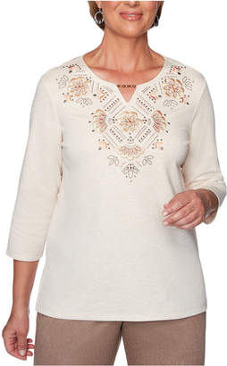 Alfred Dunner Petite First Frost Beaded Embroidered Top