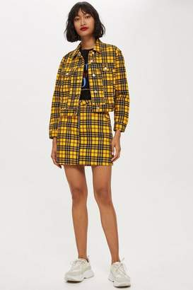 Topshop Petite Yellow Check Skirt