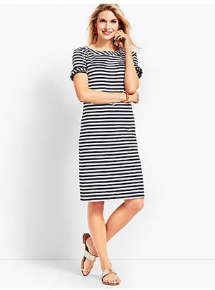Talbots Ruffle-Sleeve Slub Jersey Stripe Shift Dress