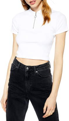 Topshop Crop Polo Shirt