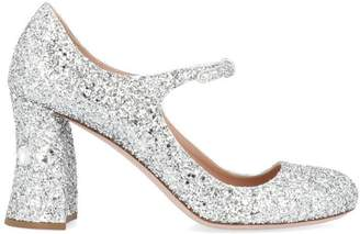 Miu Miu Mary Jane Glitter Block Heel Pumps