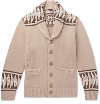 Brunello Cucinelli Shawl-Collar Intarsia Cotton Cardigan - Men - Beige
