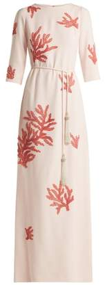 Andrew Gn Embroidered Crepe Gown - Womens - Light Pink