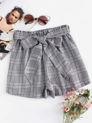 Shein Self Tie Waist Plaid Shorts