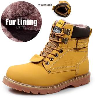 PHILDA Boy's Men's Boots Fur Lined Outdoor Martin Fur Lined Short Anti-Slip Tooling Lace Up Shoes Plus Cotton Lining for Winter Yellow 36