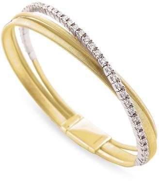 Marco Bicego Yellow Gold and Diamond Three Row Masai Bracelet