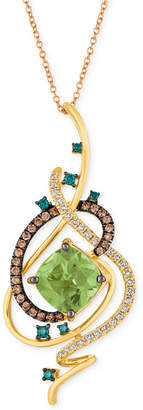 "LeVian Le Vian Exotics® Crazy Collection® Mint Julep QuartzTM (3-1/4 ct. t.w.) & Diamond (3/4 ct. t.w.) 18"" Pendant Necklace in 14k Gold"
