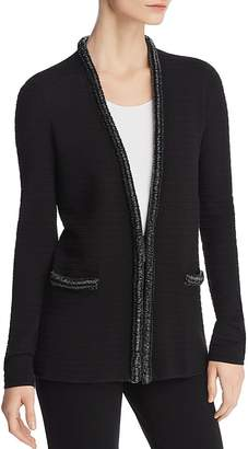 Emporio Armani Beaded-Trimmed Ottoman knit Cardigan