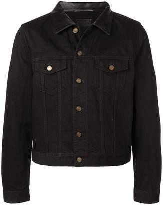 Saint Laurent leather collar denim jacket