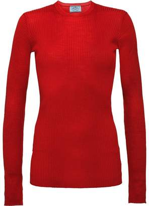 Prada ribbed knit fitted top