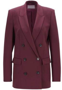 6e3f88557ef BOSS Relaxed-fit double-breasted blazer in Italian stretch virgin wool