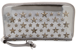 Jimmy Choo Flipa Star Metallic Leather Zip Around Wallet