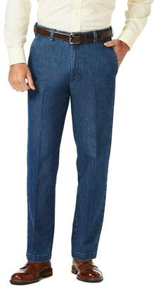 Haggar Men's Classic-Fit Stretch Expandable-Waist Flat-Front Jeans