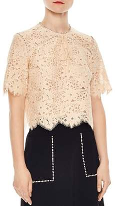 Sandro Utopie Scalloped Lace Top
