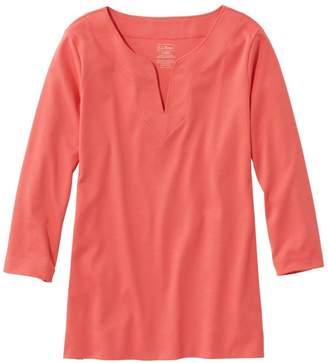 L.L. Bean L.L.Bean Pima Cotton Tunic, Three-Quarter-Sleeve Splitneck