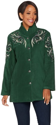 Bob Mackie Bob Mackie's Embroidered Fleece Jacket with Quilted Collar