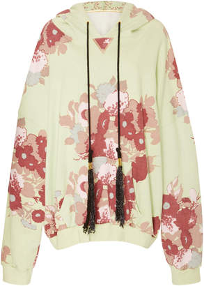 Yvonne S Oversized Floral-Print Terry Hooded Sweatshirt