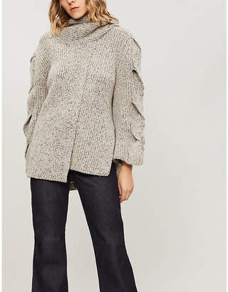 See by Chloe Twisted-sleeve waffle-knit cardigan