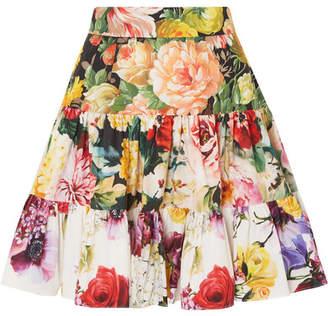 Dolce & Gabbana Tiered Floral-print Cotton-poplin Mini Skirt - White