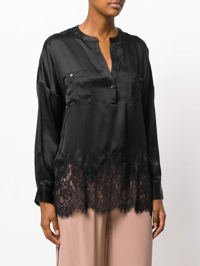 Gold Hawk scalloped lace shirt