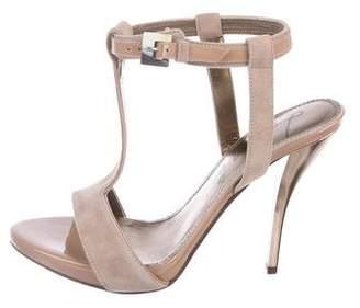 Lanvin Suede T-Strap Sandals