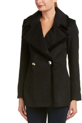 Badgley Mischka Belle Chiara Velvet-Trim Wool-Blend Coat