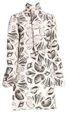 Alexander McQueen Women's Silk Shell Scarf Dress - Ivory Black - Size 44 (8)