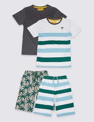 Marks and Spencer 2 Pack Palm & Striped Pyjamas (3-16 Years)