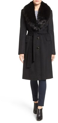 Women's Calvin Klein Faux Fur Collar Wool Blend Coat $360 thestylecure.com