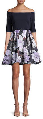 Betsy & Adam Off-the-Shoulder Floral Print Skirt Dress