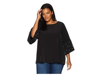 Calvin Klein Plus Plus Size Bell Sleeve Blouse with Pearls