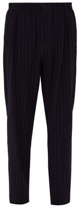 Giorgio Armani Striped Wool Blend Trousers - Mens - Navy