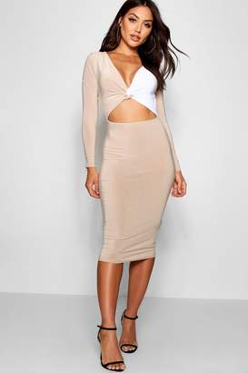 boohoo Slinky Contrast Panelling Midi Dress