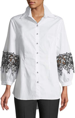 Neiman Marcus Embroidered Balloon-Sleeve Button-Front Blouse