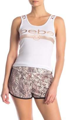 Bebe Cage Front Logo Print Tank Top