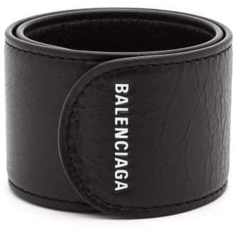 Balenciaga Cycle Logo Print Snap Bracelet - Mens - Black