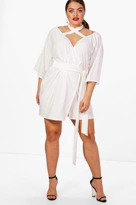 boohoo Plus Strap Wrap Tie Waist Dress