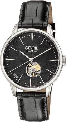 Gevril Men's Automatic Mulberry Black Leather Strap Watch