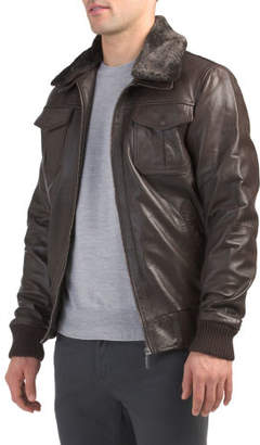 Leather Bomber Jacket With Shearling Collar