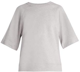 Tibi Easy Short Sleeved Cotton Jersey Sweatshirt - Womens - Grey