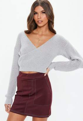Missguided Grey V Neck Wrap Crop Sweater