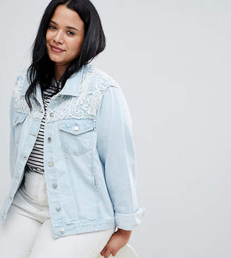 Brave Soul Plus Rayola Denim Jacket with Crochet Insert