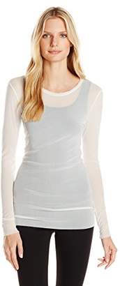 Only Hearts Women's Tailored Tulle Long-Sleeve Crew-Neck Shirt