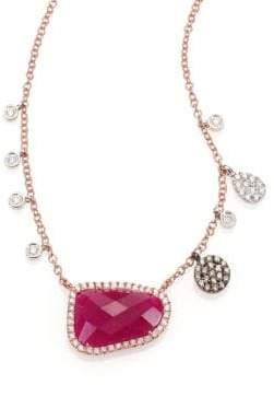 Meira T Ruby, Diamond& 14K Rose Gold Pendant Necklace