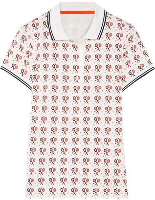 Tory Sport Printed Flocked Stretch-coolmax Piqué Polo Shirt - White