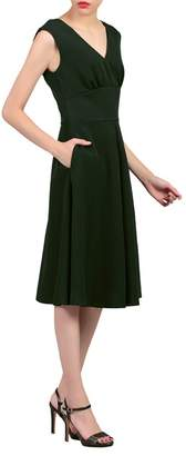 Jolie Moi - Green Sweetheart Neck Flared Dress