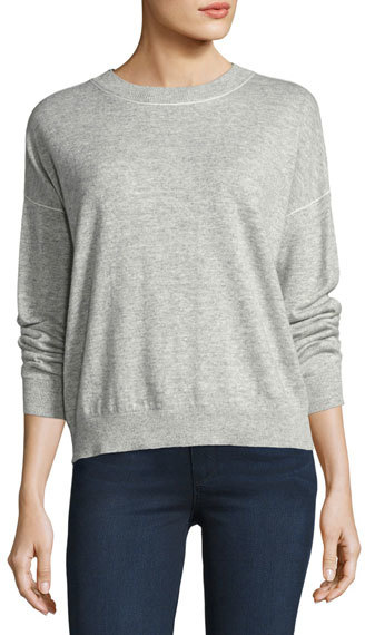 Theory Theory Criselle Drop-Shoulder Crewneck Sweater, Gray